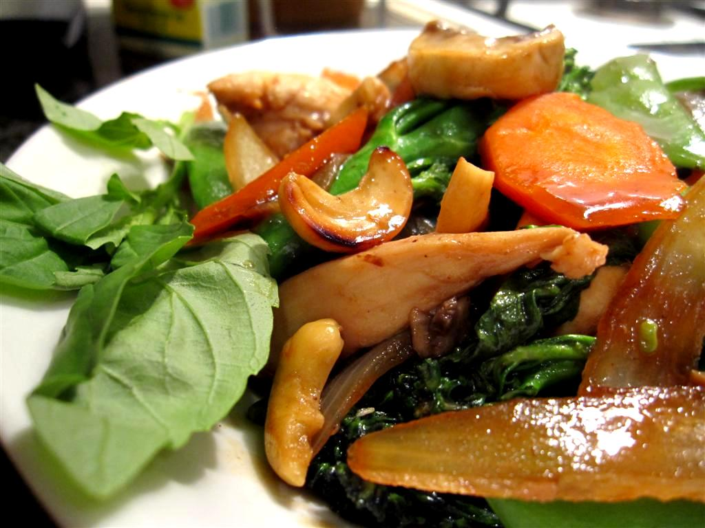 basil chicken with cashew nuts and seasonal vegetables
