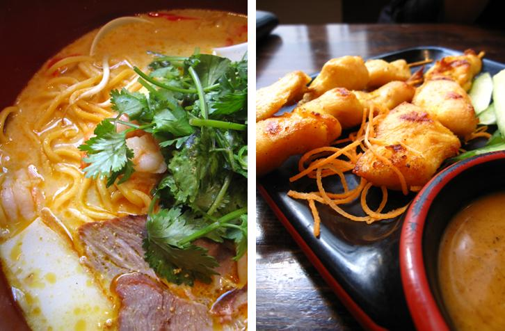 chi noodle laska and chicken satay