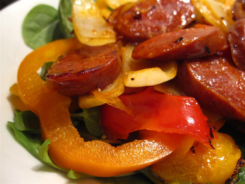 chorizo salad with sundried tomato & peppers