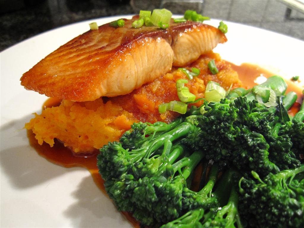 honey soy salmon with carrot & swede mash