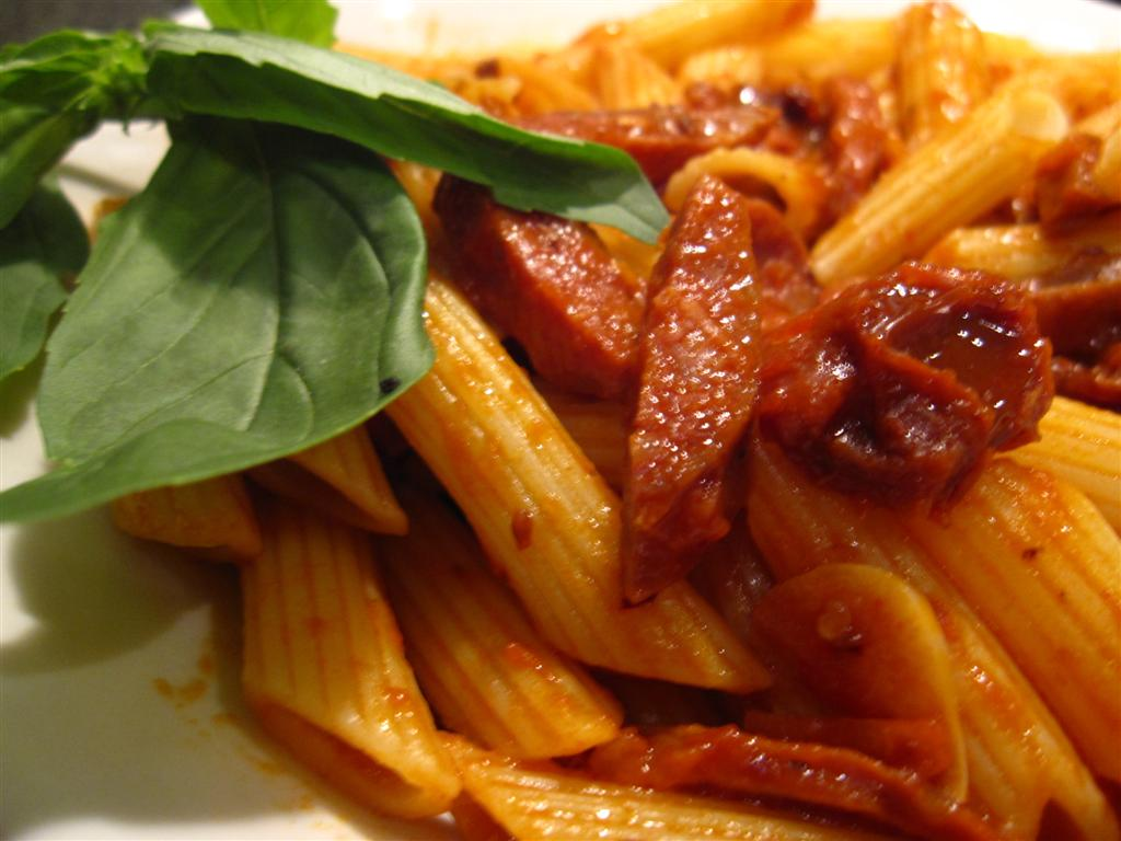 penne arabiata with spicy chorizo & sundried tomato