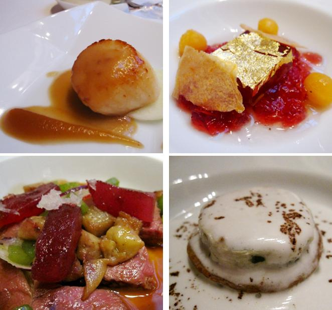 Scallop in clocharde apple marmalade; strawberry & lemon jus with sliced melon and barsac wine jelly; roquefort terrine; roasted baby duck with green cardamom