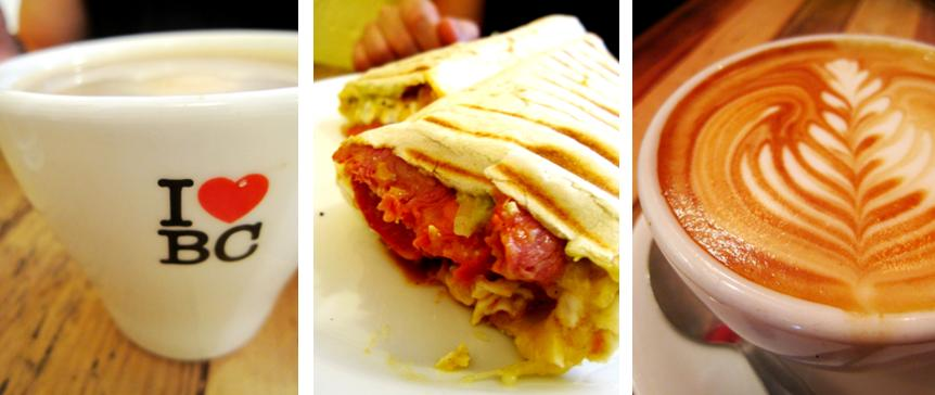 coffee at The Breakfast Club; breakfast burrito at The Breakfast Club; latte at Flat White