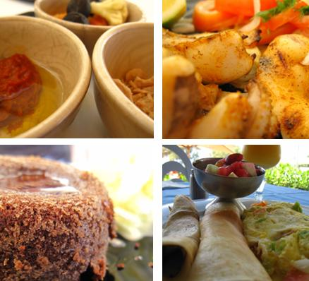 chilli dip with tuna and pickled vegies; grilled calamari; chocolate fondant; breakfast buffet