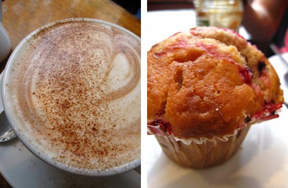 muffin and hot chocolate