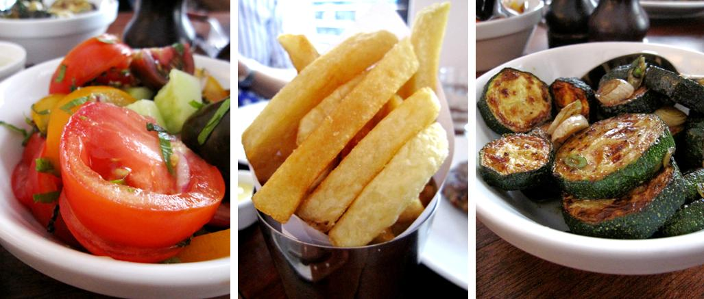 tomato and red onion salad; triple cooked chips; roasted courgettes