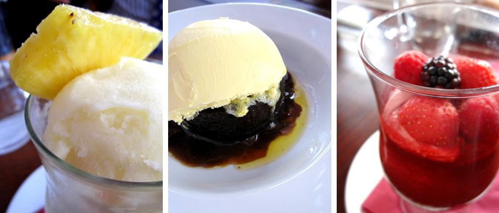 pina colada sorbet; sticky toffee pudding; berry delight