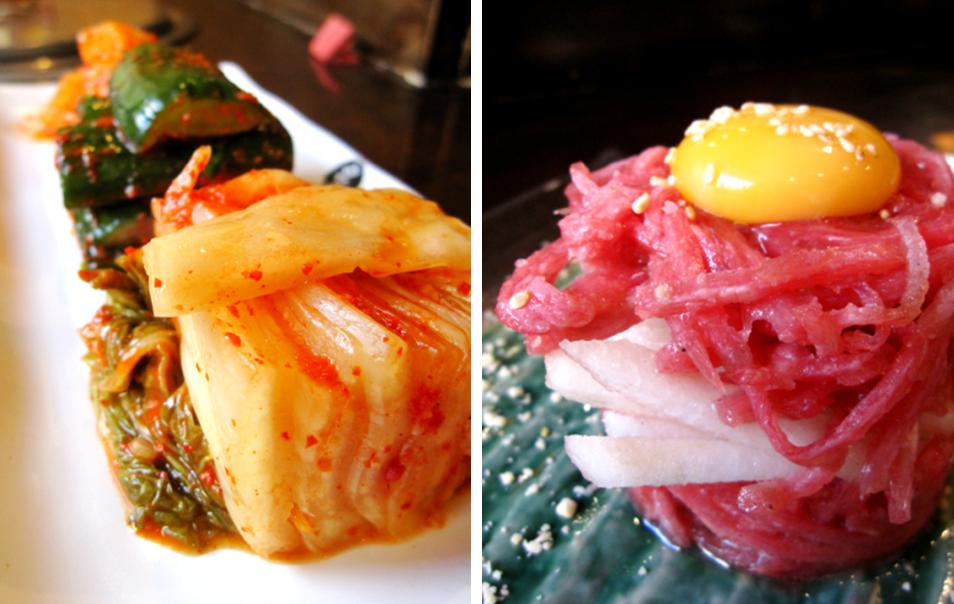 medeum kimchi (kimchi assortment); yook hwei (seasoned raw beef with sliced pears)