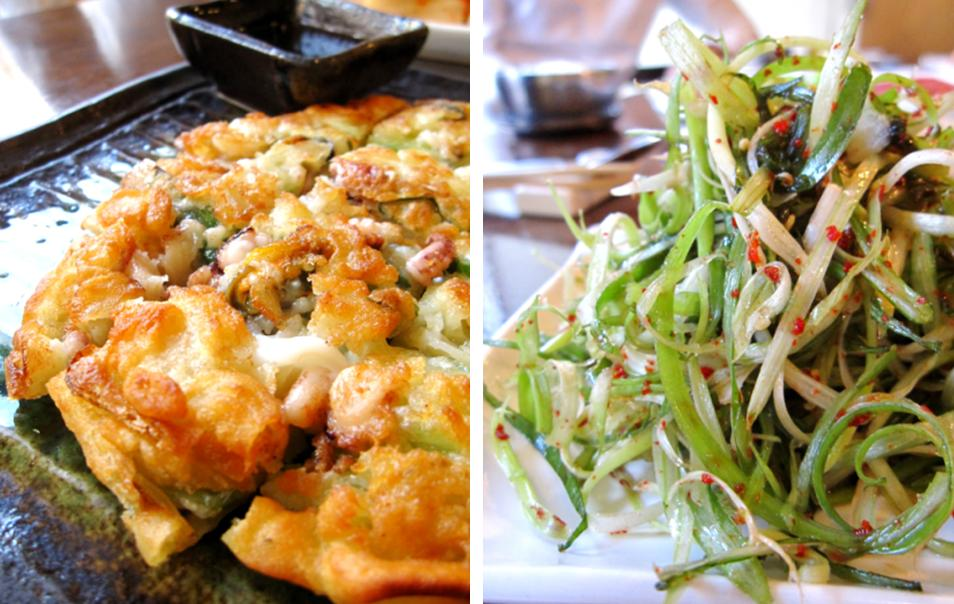 pajun (korean pancake with spring onion and seafood); sagchoo (sliced spring onion with chilli and vinegar)