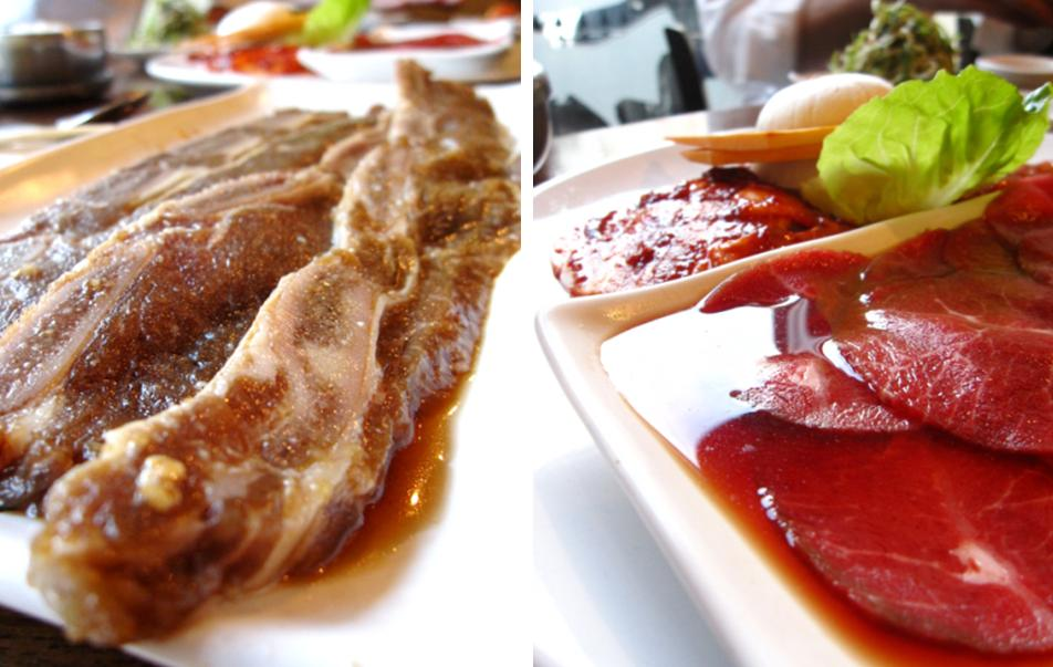 kalbi (marinated beef spare ribs); jonghapgogi modeum (marinated sliced beef sirloin, sweet & spicy chicken, sweet & spicy pork)