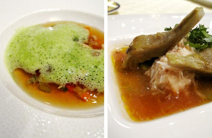 shrimp broth; crab with artichoke