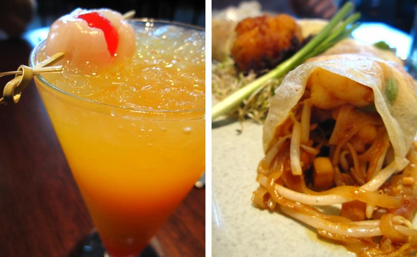 lychee & mango cocktail; lobster pad thai