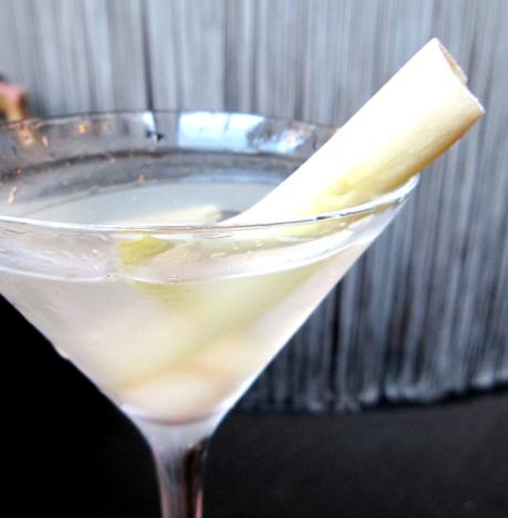 lychee martini with Absolut Blue, Qui Fen Lychee Liqueur and lychee juice