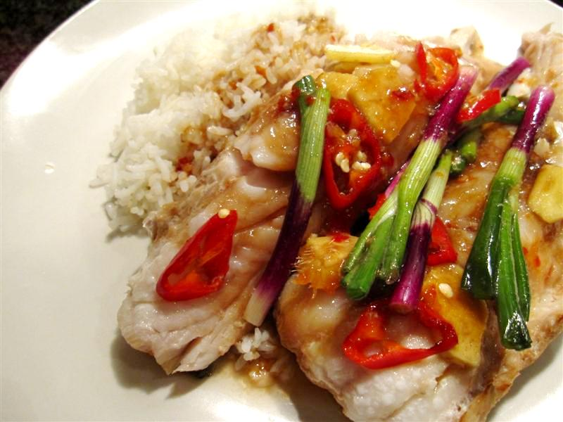 steamed fish with ginger, chilli and shallots