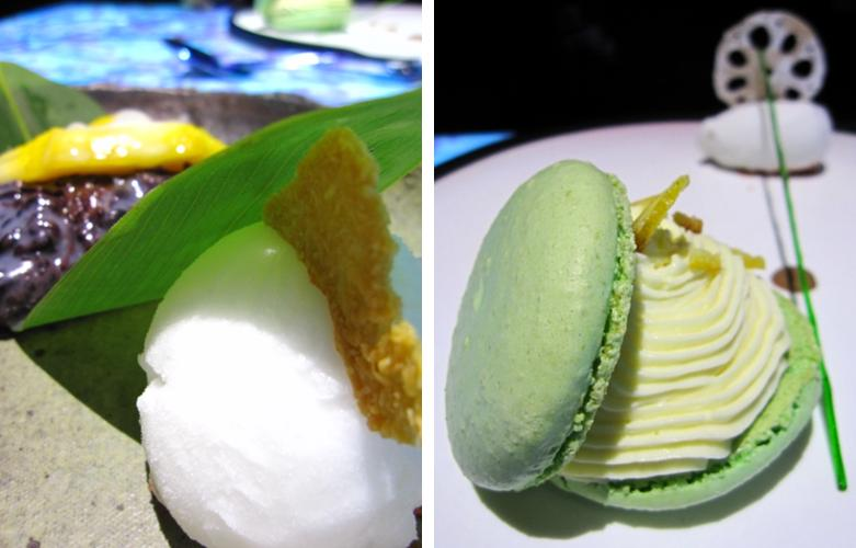 Inamo - fresh mango with sticky rice and lime sorbet; pandan macaroon with white chocolate mousse