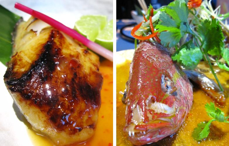 Inamo - black cod marinated with spicy miso; whole Shanghai snapper