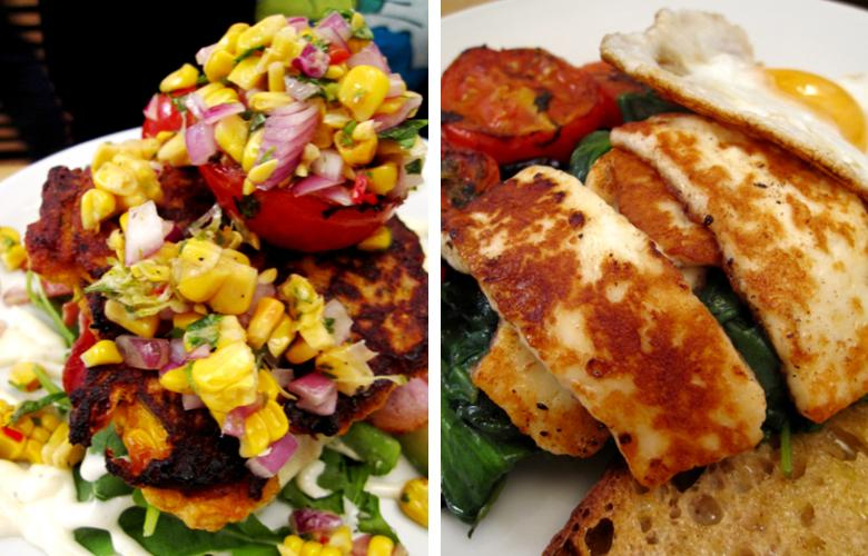Lantana - corn fritters with lime aioli; haloumi with spinach & mushroom