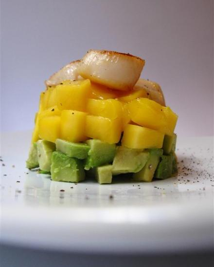 avocado and mango tower with grilled scallops 2