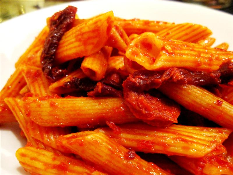penne arrabiata with spicy chorizo and sundried tomato