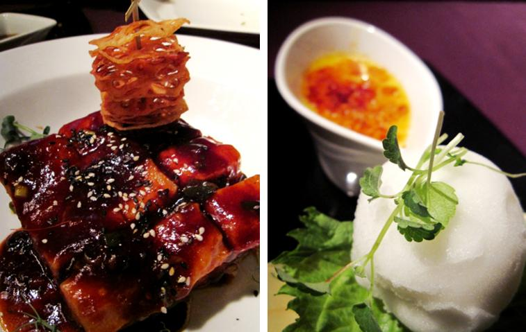 Pan Fried Pork Belly, golden lotus root, honey hoisin sauce; Coconut and Palm Sugar Brûlée, elderflower sorbet