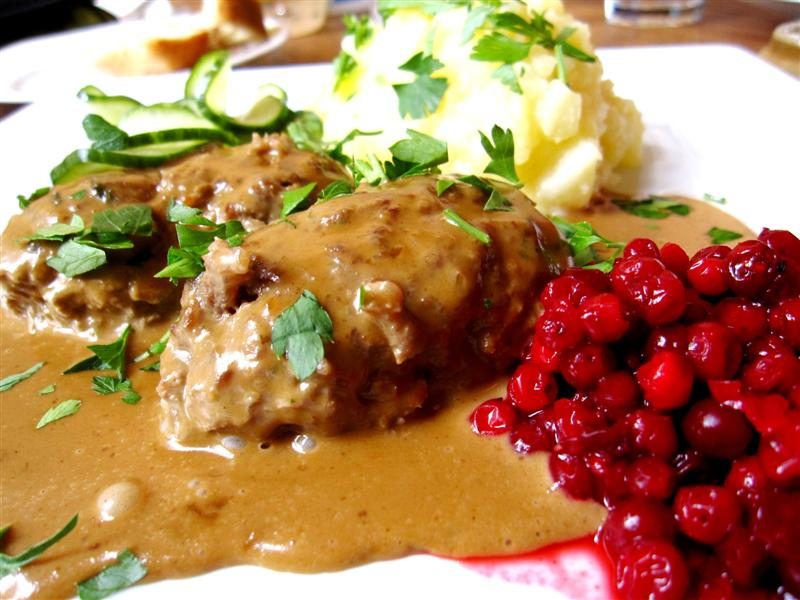veal meatballs, cream sauce, crushed potato, lingonberries & pickled cucumber