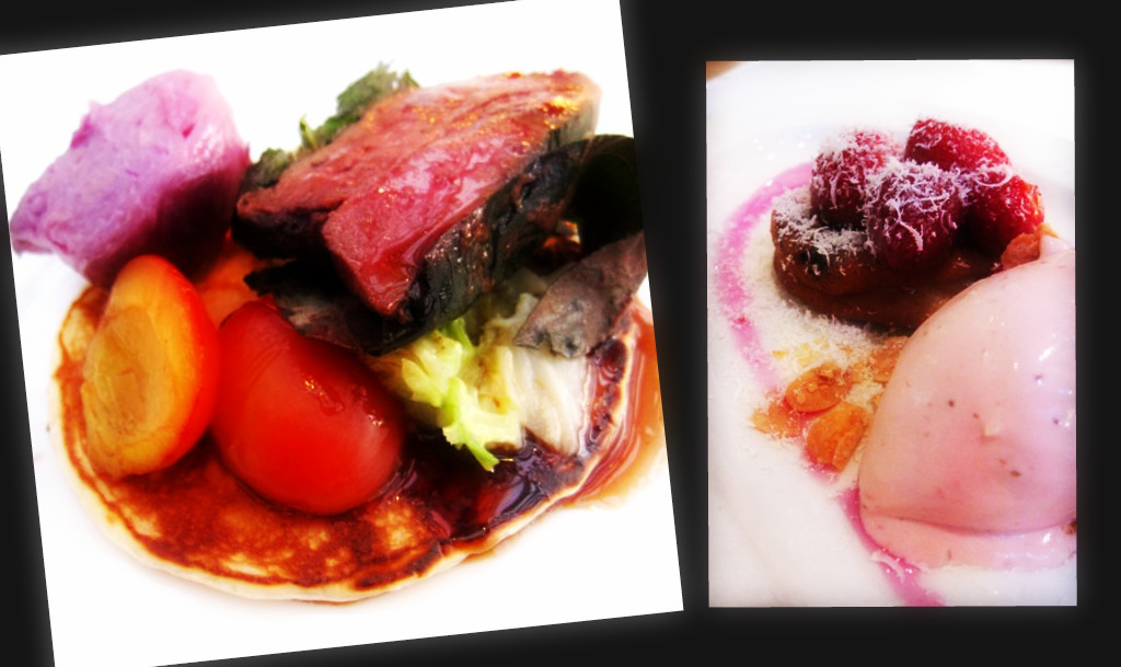 De Kas main: duck wrapped in vine leaves, served with a pointy red cabbage, caramelised plums on an american pancake; De kas dessert: cranberry sponge with glazed strawberries and strawberry & white chocolate ice cream