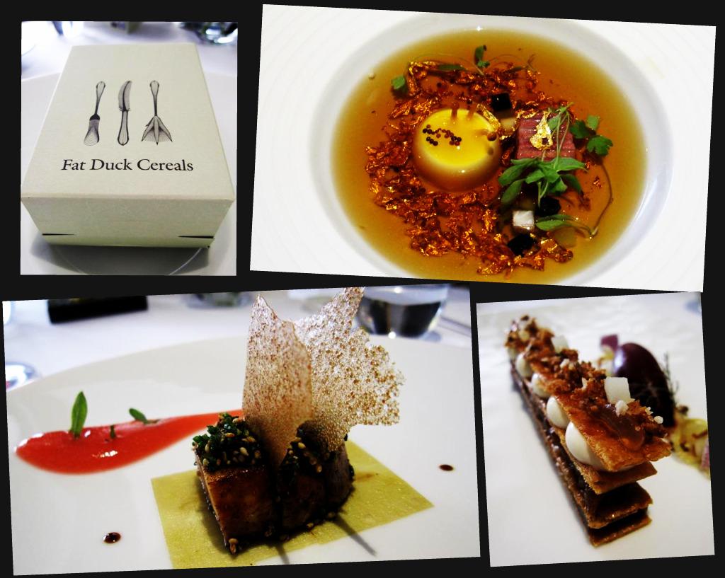 Fat Duck cereal box; mock turtle soup; roast foie gras; tafferty tart
