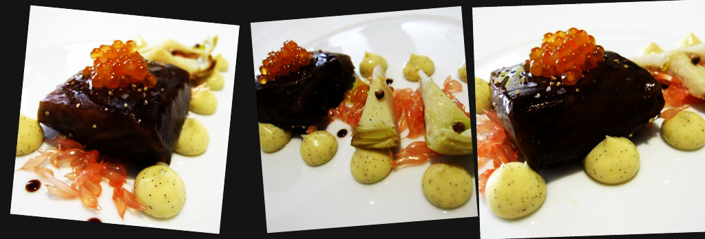 salmon poached in licorice with artichokes, vanilla mayonaise, golden trout roe and manni olive oil