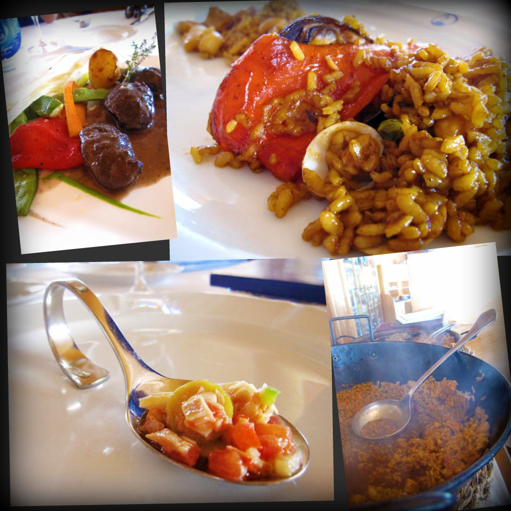 Lunch at Darsena - meatballs Alicante style with red wine sauce; paelle Alicante style with chicken & seafood; paelle with fish