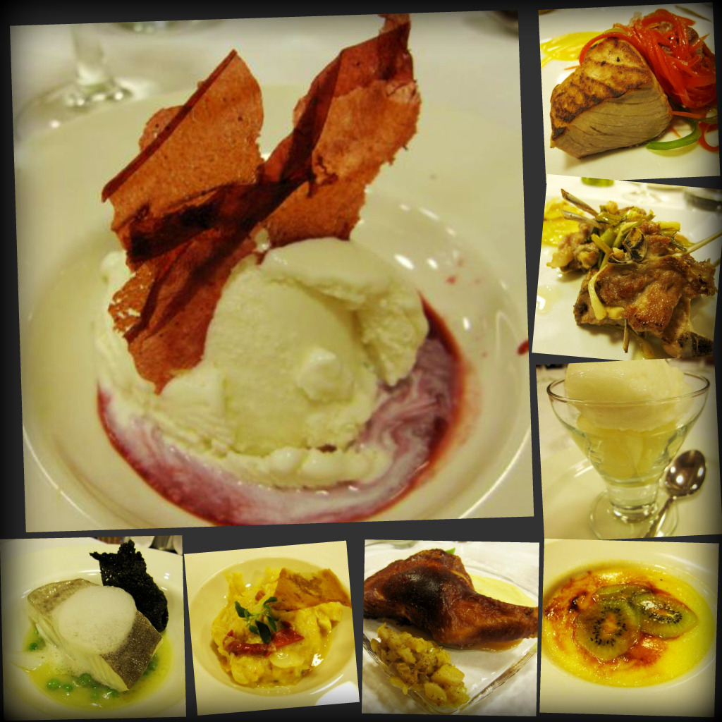 fresh cheese ice cream with raspberry sauce; cod with pil pil sauce and royal pepper; cod potato salad with lobster; suckling pig; Catalan creme brulee; lemon sorbet with melon balls; succulent goat cutlets with garlic; red tuna with tomato compote