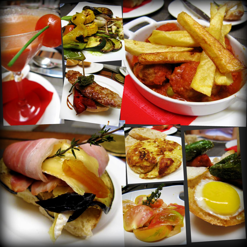 Lunch at Senzone: gazpacho; grilled vegetables; honey chorizo; meatballs with handcut chips; aubergine with brie and crispy bacon; spanish potato omelette; tomato salad; cojonudo (quail egg with peppers)