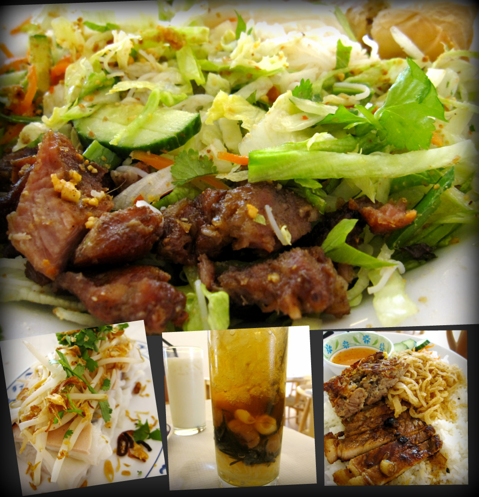 bun thit heo nuong cha gio (grilled pork & vermicelli noodle);