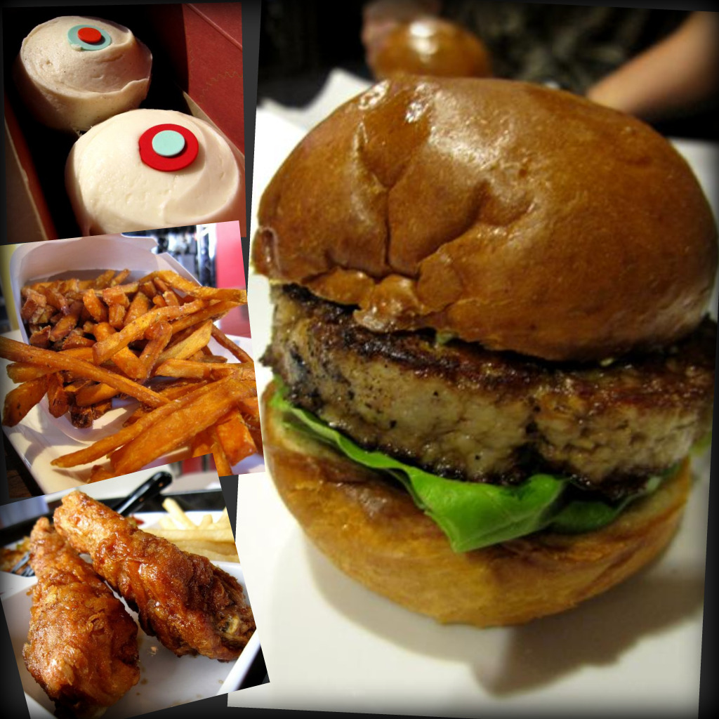 Sprinkles cupcakes; sweet potato chips from 25 Degrees, Roosevelt Hotel; Kyochon fried chicken; Umami burger