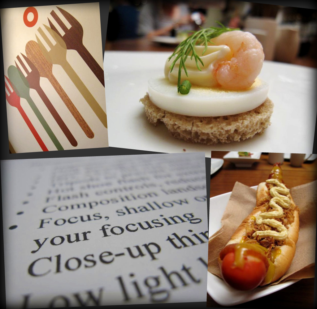 "photography lesson at Scandi Kitchen; mini prawn & egg ""smorrebrod"" (open sandwich); the hot dawg"