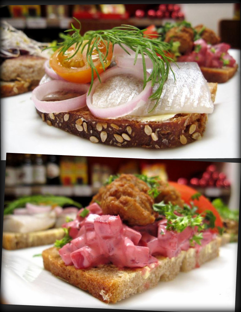 "Herring (onion, mustard, curry or spiced herring); Swedish meatballs ""Kottbullemacka"" (classic Swedish fare: Swedish meatballs served on sourdough bread with beetroot & apple salad)"