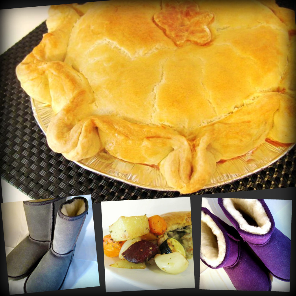 chicken, mushroom & leek pie, and ugg boots!