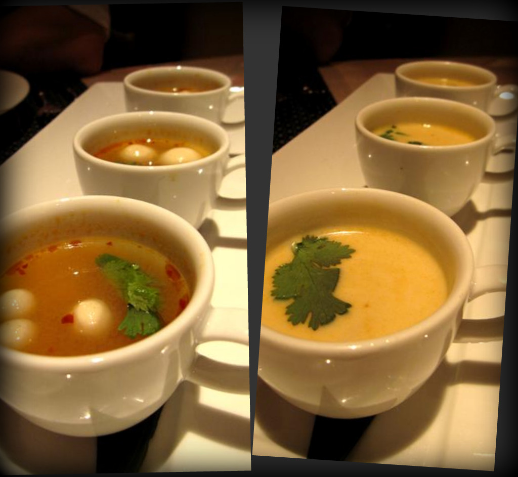 tom yum goong soup with shimeji mushrooms; tom kha gai soup