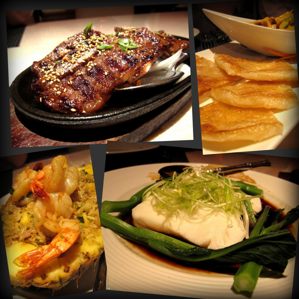 Korean galbi short ribs; roti panang (panang chicken curry with flat bread); Wazuzu pineapple fried rice; steamed seabass with chinese vegetables