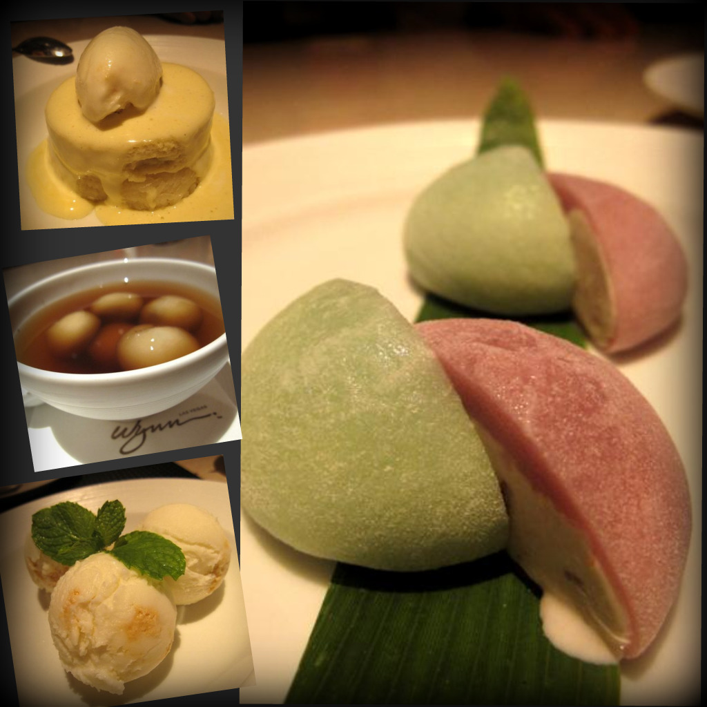 "sticky rice with Thai custard, coconut ice cream & coconut anglais; ""dragon balls""; Wazuzu coconut ice cream; mochi ice cream duo"