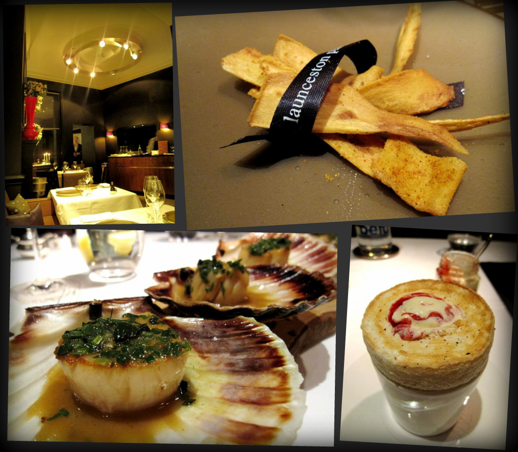 Launceston Place; devilled parsnip crisps; west coast scallops roasted with aromatic herbs; rice pudding souffle with raspberry ripple ice cream
