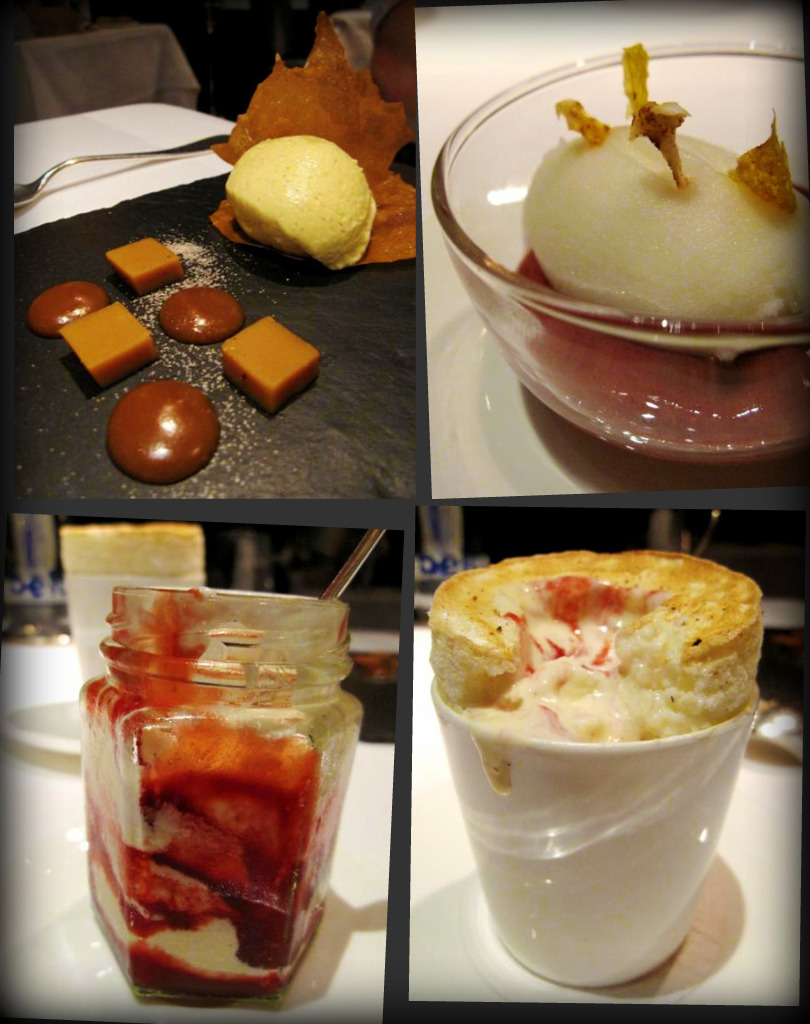 set custard cream, caramel & praline with malt ice cream; pear sorbet & mulled wine mousse palate cleanser; raspberry ripple ice cream; rice pudding souffle