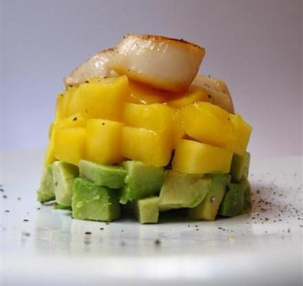 avocado mango and scallop tower