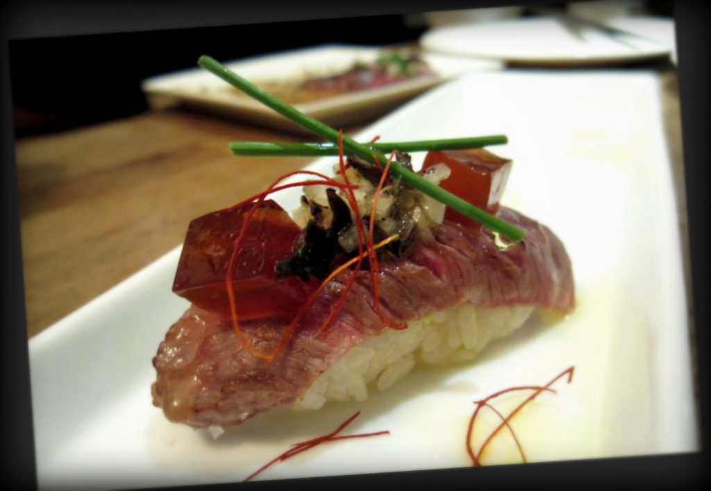 seared wagyu beef sushi with truffle salsa and ponzu jelly