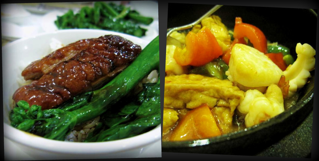 roast duck with vegetables; sizzling bean curd with mixed seafood