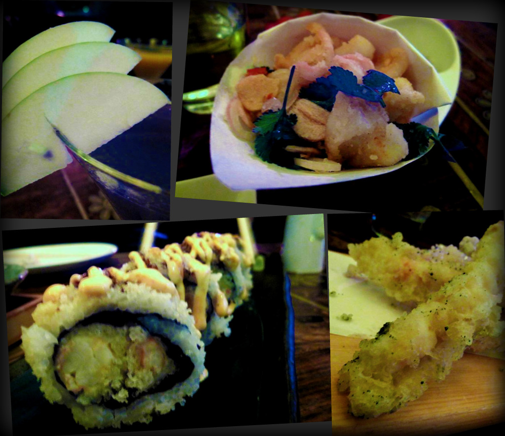 apple martini; crispy squid; Mr Chang's sushi roll; avocado and sweet potato tempura