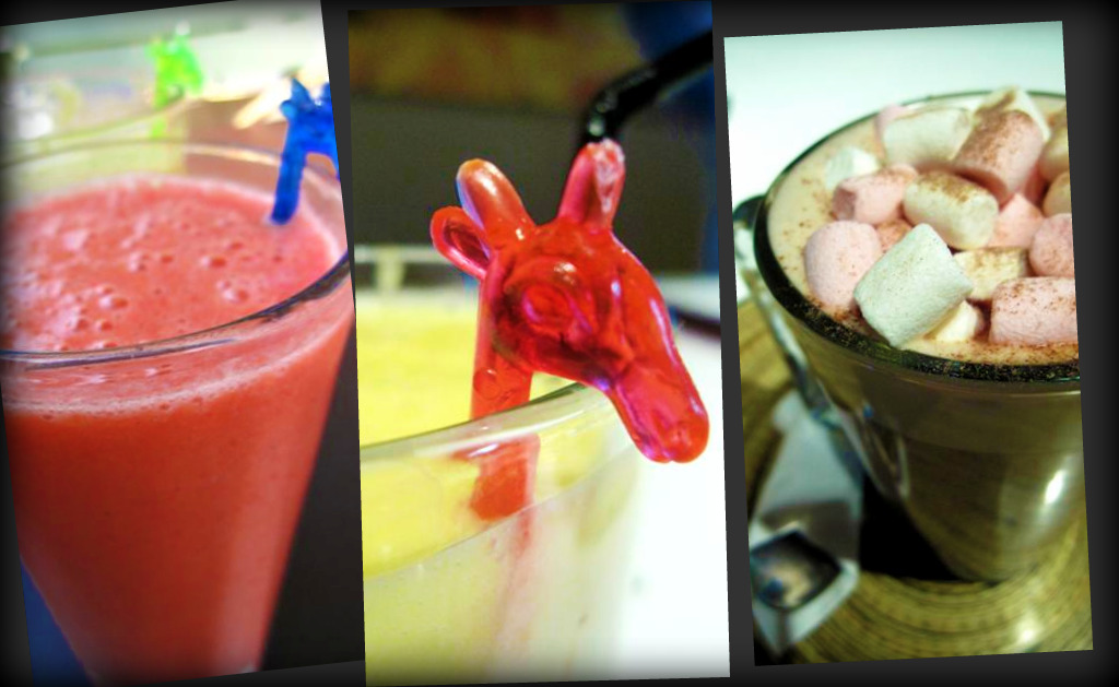 fruitasia (raspberries, passionfruit, strawberries, banana & apple juice); mango mama (mango, strawberry, banana, orange & apple juice); hot chocolate with marshmallows