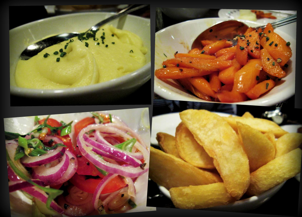 mashed potato; carrot, honey and ginger glazed; tomatoes, red onion with olive oil and maldon salt; hand cut chips