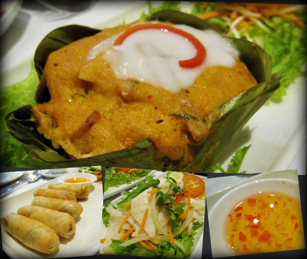 hoh mok pla (steamed cod fillets cooked in red curry paste and coconut milk with egg and thai herbs); popia (deep fried pancakes with cabbage, carrots and clear noodles); yum pla muek (sliced squid blended with thai herbs, chilli and lemon juice)