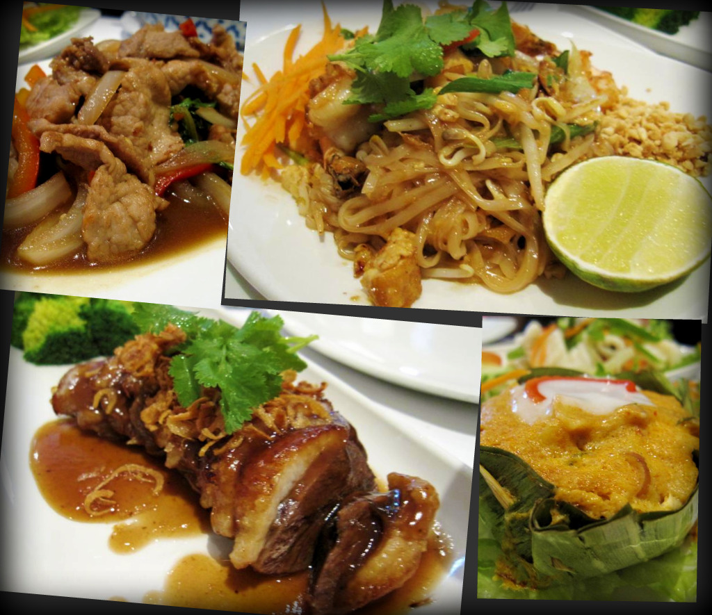 moo prad gra prao (stir fried pork with onion, peppers, chilli and holy basil); pad thai with prawns; ped ma kam (thai style roast duck with tamarind sauce, peppers, pineapple and carrots); hoh mok pla