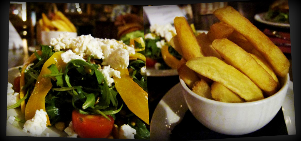 roasted butternut squash & goat's cheese salad; hand cut chips